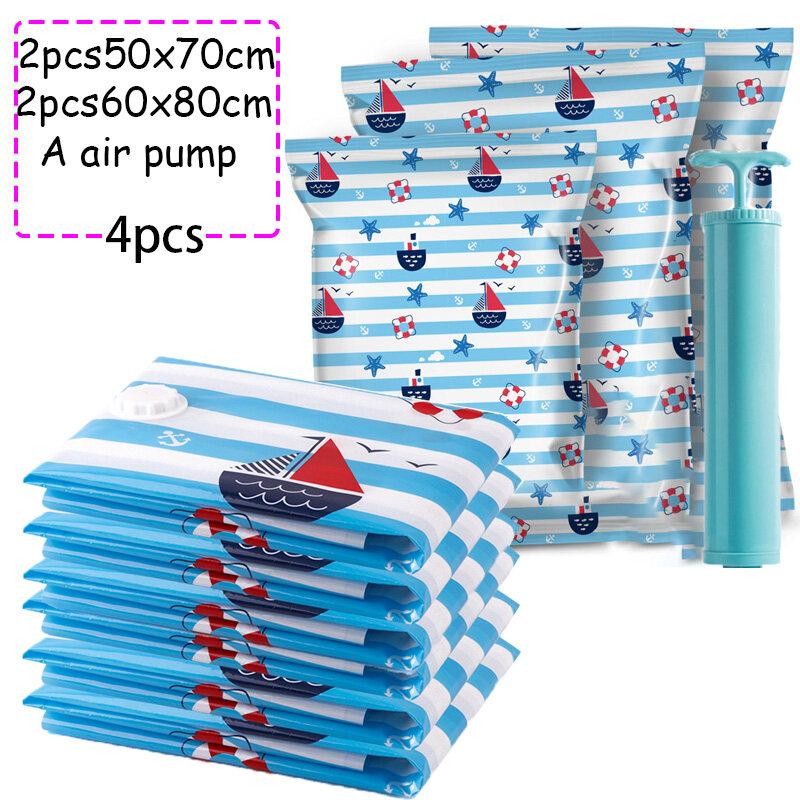 4pcs A Set Vacuum Storage Compression Bag Ocean Pattern Home Organizer For Clothes Foldable Seal Travel Bags Free Air Pump Lazada Ph