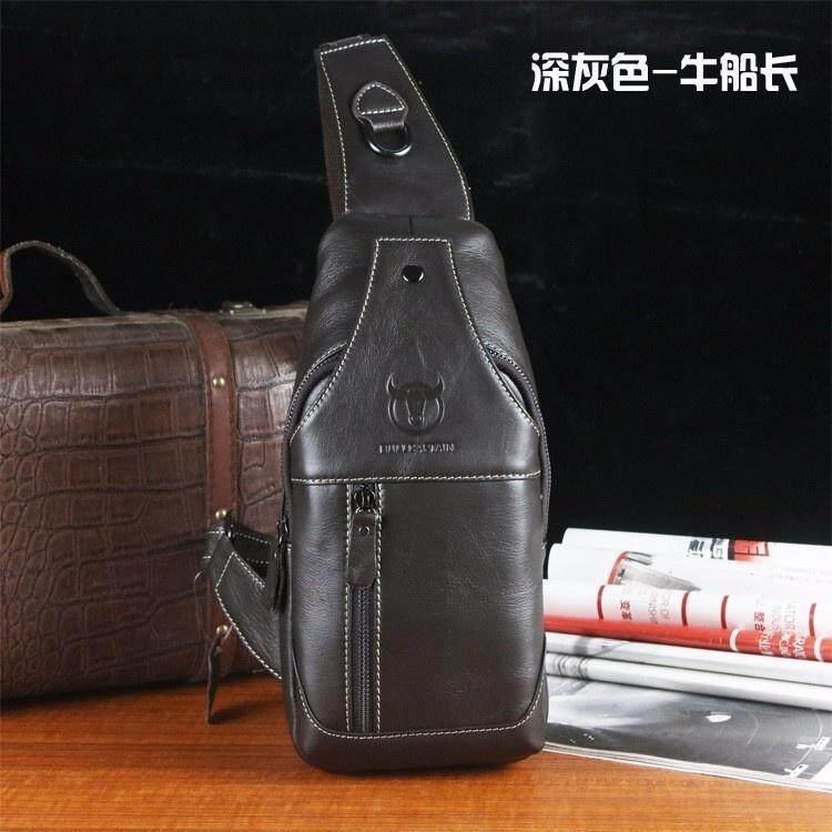 d92477fa47 Bullcaptain Men Genuine Leather Business Casual Brown Black Shoulder ...