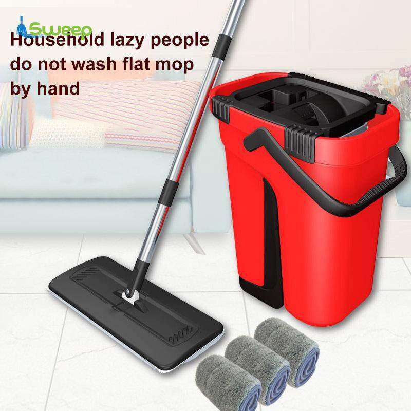 Wash /& Dry Flat Mop Head Pad Bucket Set All Floor Cleaner Home Cleaning System