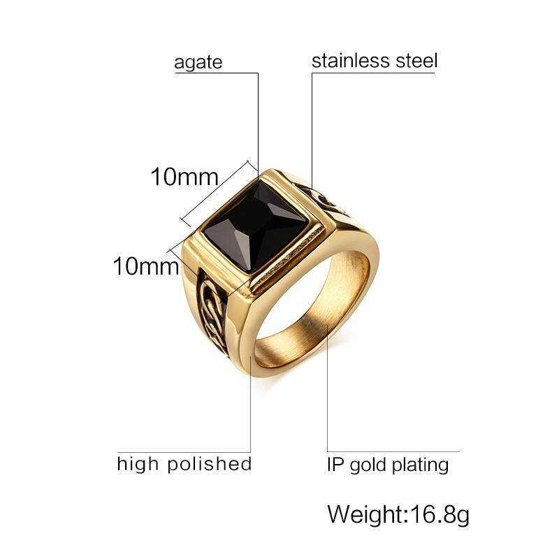 2017 Sale Direct Selling Stone Bezel Setting Round Men Rings for Party  Jewelry Stainless Steel Punk for Men/male Plate
