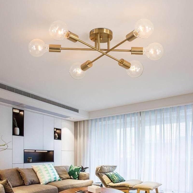 Modern Scandinavian Style Interior 6 Chandelier Ceiling Lamp Gold Black Semi Embedded Geometric Lighting Household