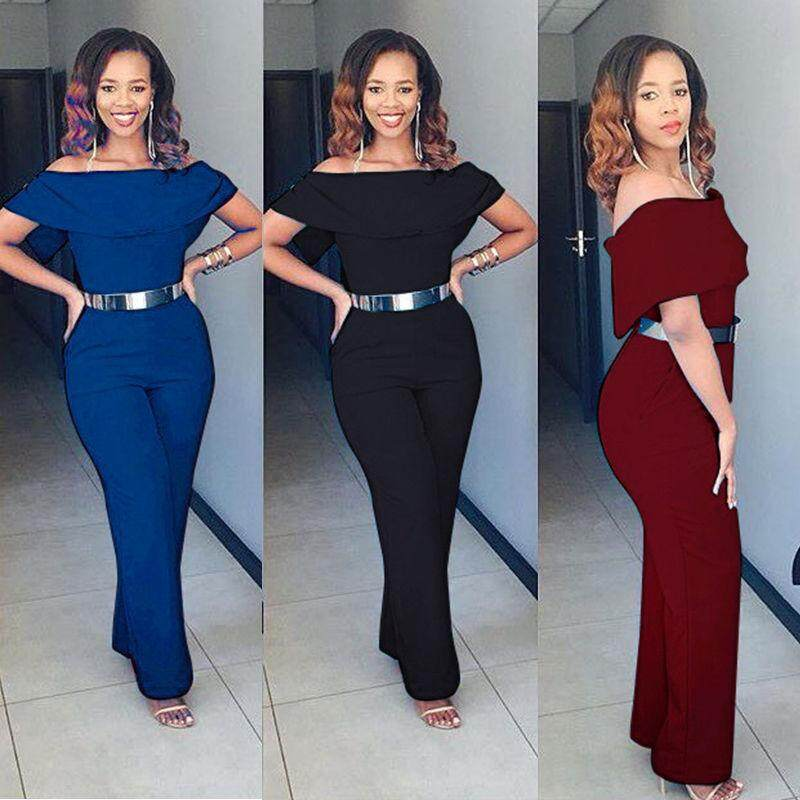 59751910ead Plus Size Women s Casual Off Shoulder Jumpsuit Rompers Clubwear ...