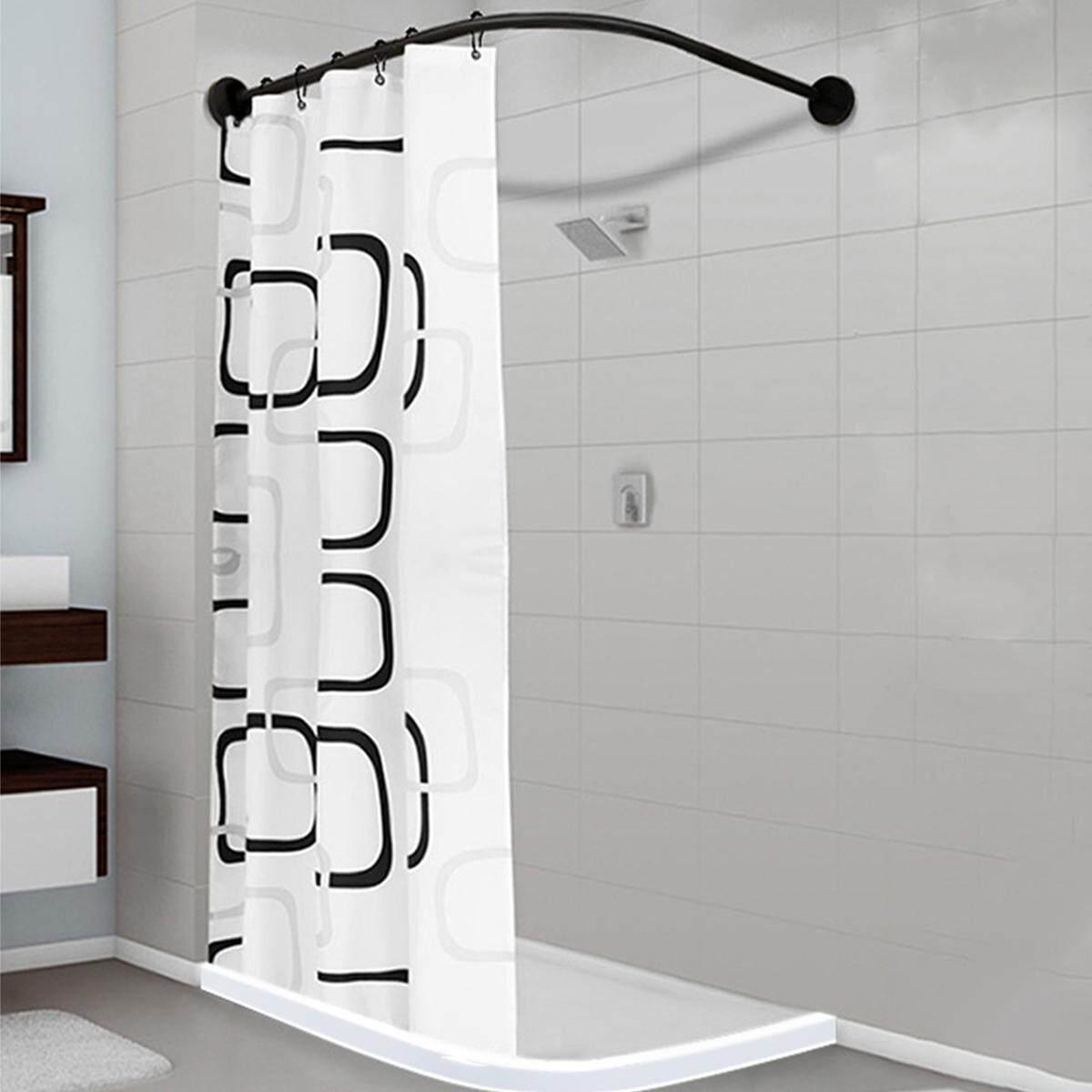 L Shape Adjustable Stainless Steel Shower Curtain Rod Pole 90 130cm Retractable