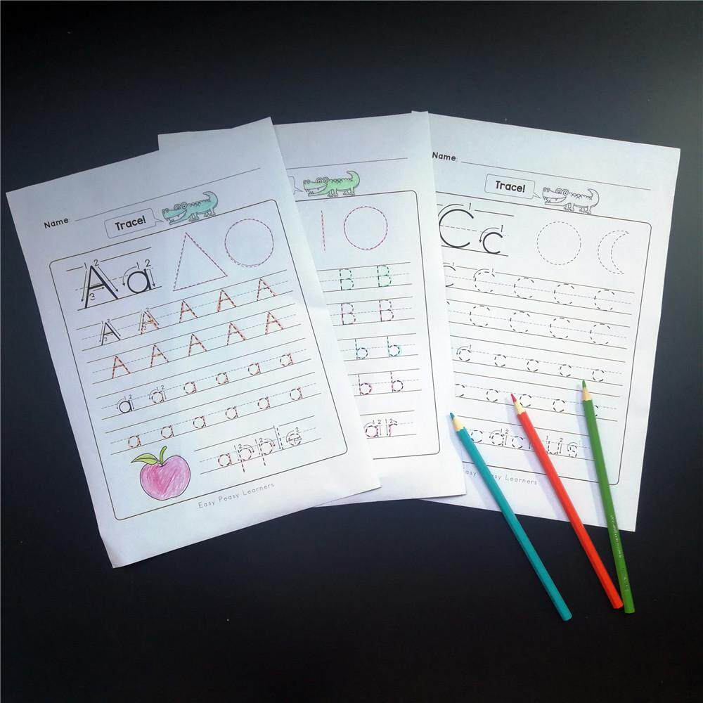 Latest Collection Of 130pcs 5 Plays Fun Writing Homework Notebook 26 Alphabet Worksheets Learning Paper English Workbook Kids Education Toys Children Home