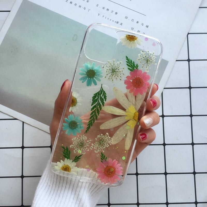 Real Pressed Dried Flowers Case Compatible for iPhone 11 11pro max X XR Xs max 6 6s 7 8 Plus Transparent Case Bling Girly Cover-T29-Compatible for iPhone XR