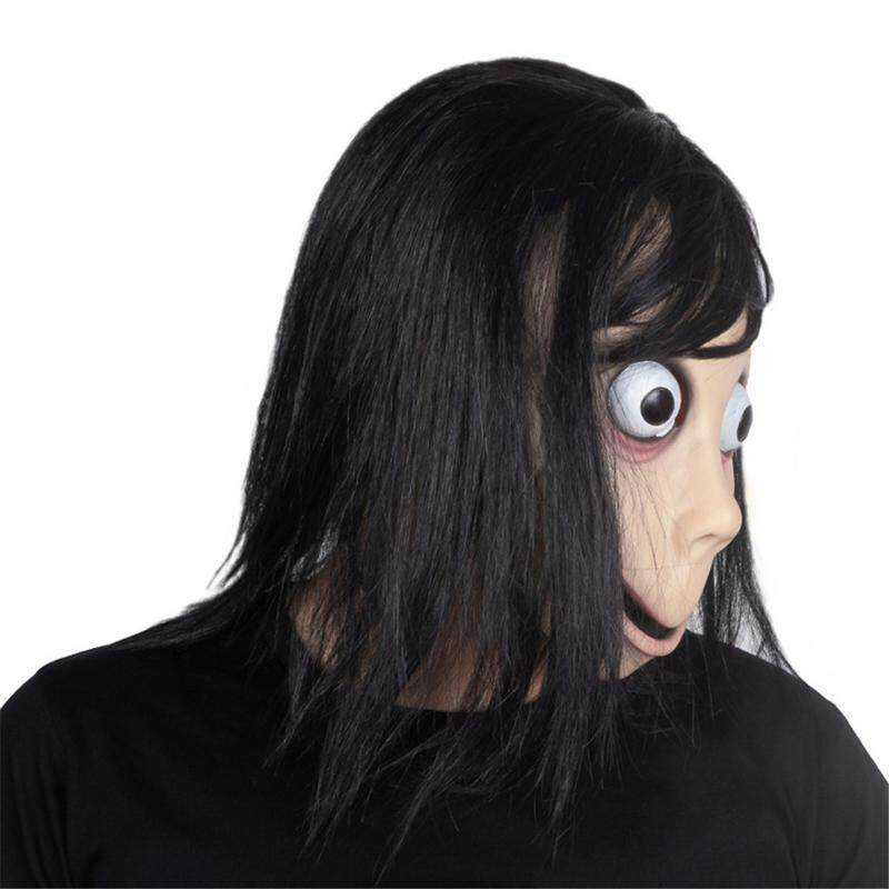Ryt Scary Momo Costume Mask Tern Death Game With Long Hair Halloween Costume Party Momo Mask Tern Mask