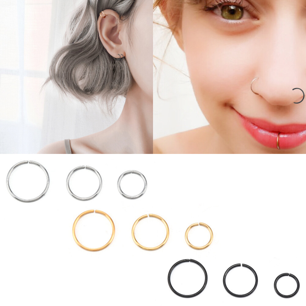 Bday Sale Stainless Steel Fake Nose Ring Hoop Nose Stud Rings Body Piercing Ear Jewelry For Women Lazada