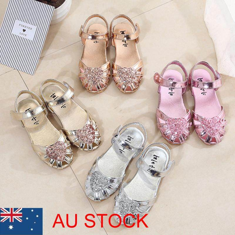 e43c159eda15 Product details of Kid Girl Ballet Shoes Ankle Strap Flat Sequins Sandals  Party Dress Princess Shoe