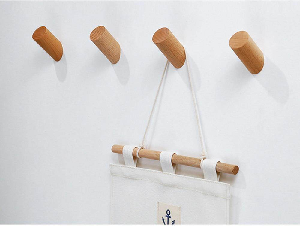 Bathroom Fixtures Natural Wood Clothes Hanger Wall Mounted Coat Hook Decorative Key Holder Hat Scarf Handbag Storage Hanger Bathroom Rack Hooks Bathroom Hardware