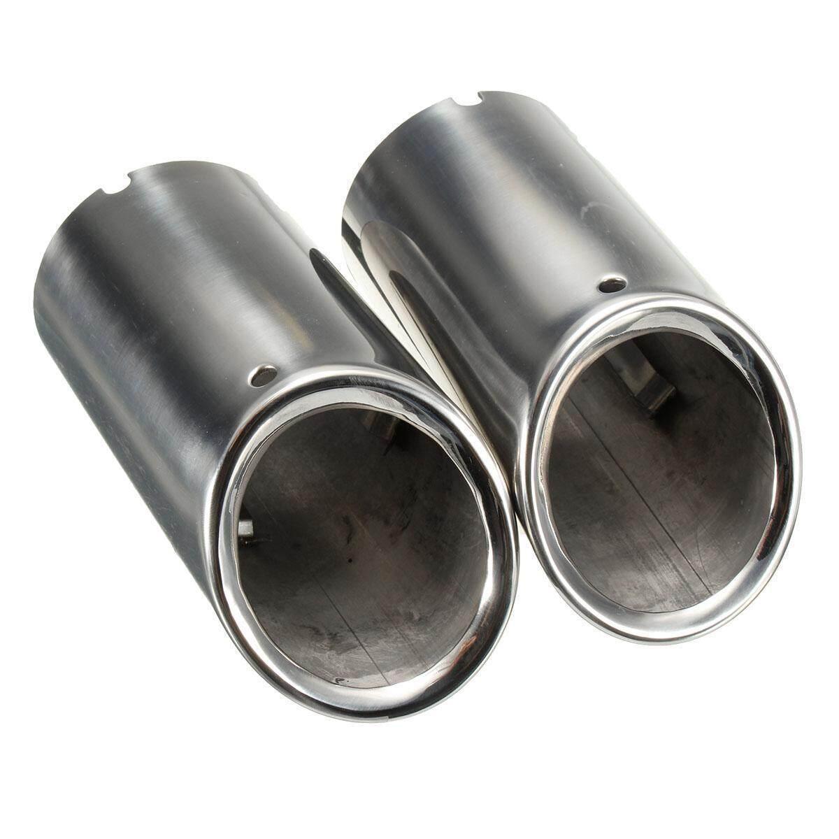 2Pcs Set Muffler Exhaust Tail Pipe Tip Chrome For BMW E90 E92 325 3 Series 06-10