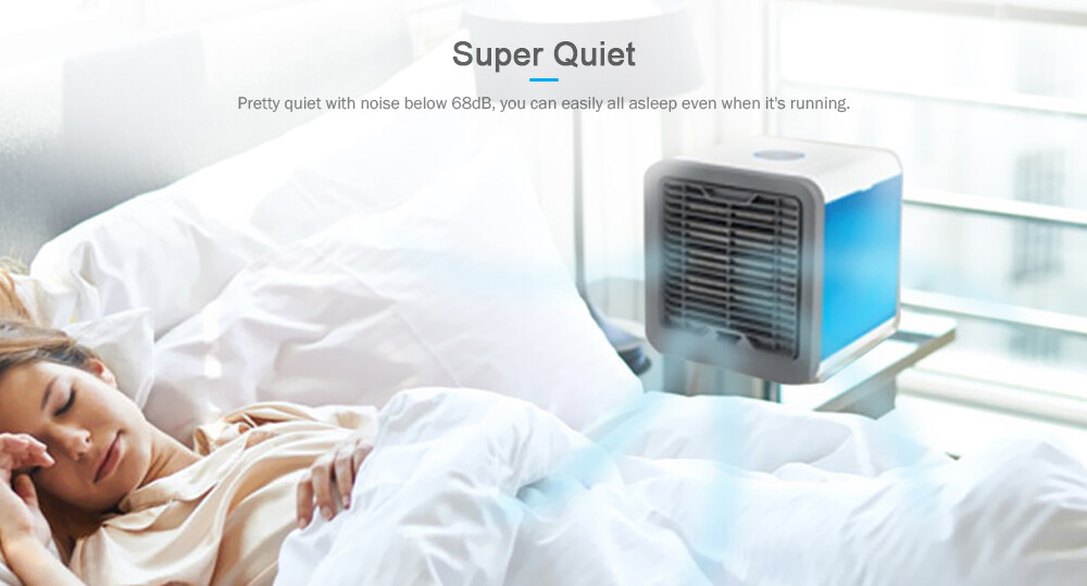 USB Charge Type Mini Fan Colorful Lamp Portable Air Conditioner