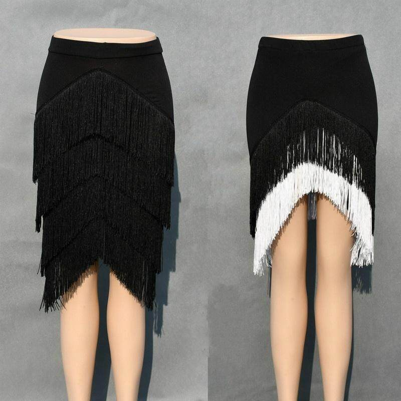 Ladies Latin Skirt Tango Rumba Dance Tassels Fringe Ballroom Shorts Inside S-2XL