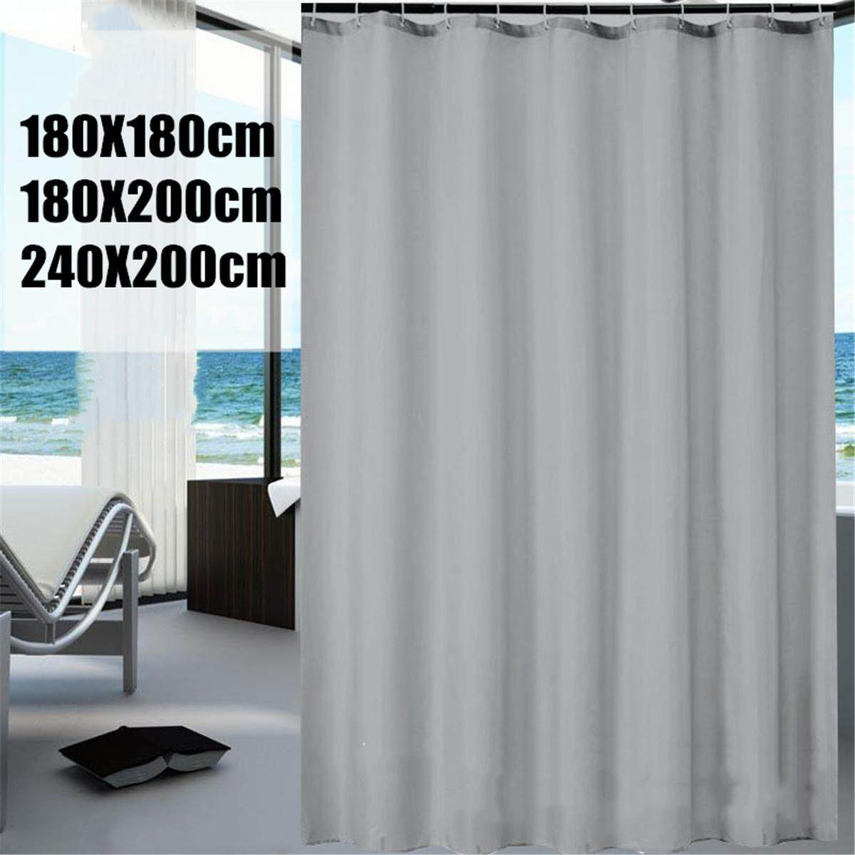 Plain Grey Fabric Shower Curtain With Hook Rings Hangers 240 200cm