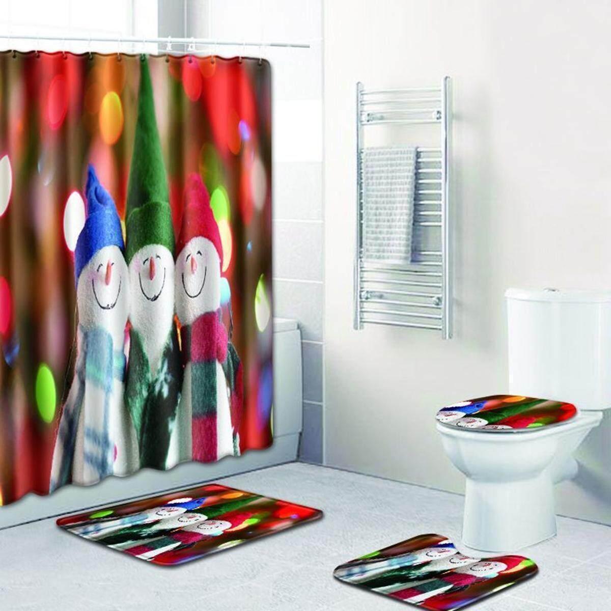 4pcs Bath Mat Set Non Slip Rug Bathmat Toilet Shower Floor Curtain Cover Xmas Modren Cactus Bathroom Curtain Polyester Waterproof Shower Curtain Set