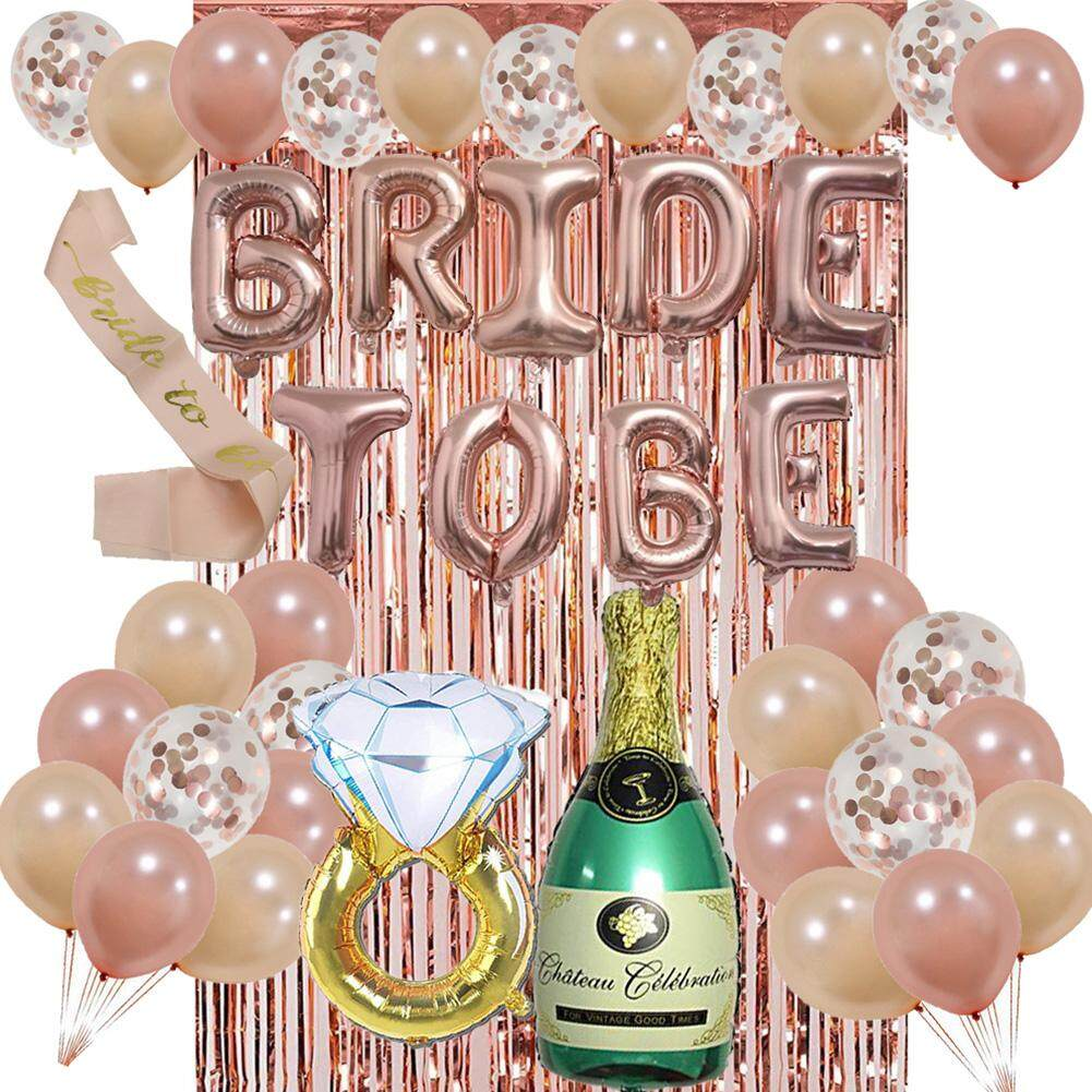 8d639883fb6f8 PER Bride to Be Balloon Set Bachelorette Party Decoration Set Champagne  Rose Gold Diamond Ring Latex Balloon Set Bridal Shower Party Decoration ...