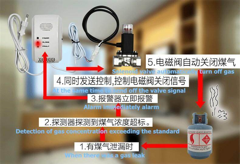 Combustible Gas Detector LPG Natural Gas Detector Best-selling House  Security Alarm Gas Leak Detector and Linkage Solenoid Valve - intl