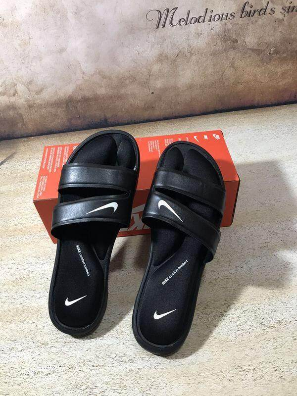 new style f6c11 e3c32 Ready Stock Nike Benassi Double Strap Ninja Black Whole Summer Slippers  Soft and Comfortable Sandals 36-45 Fashion Shoes