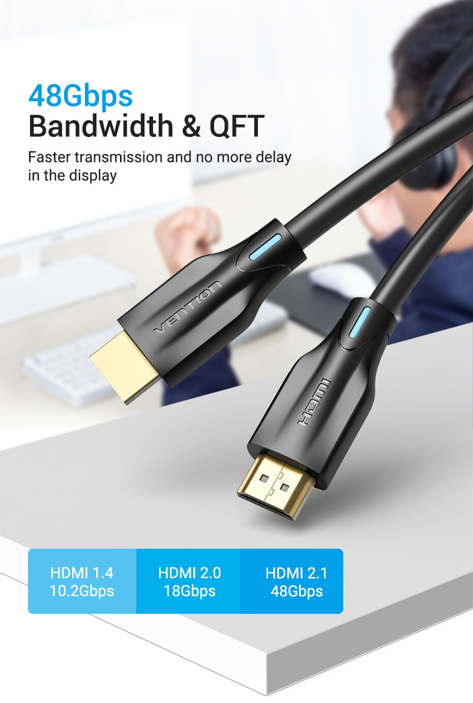 VENTION 8K HDMI Cable, 48Gbps Fast Transfer Speed, 3 Meters