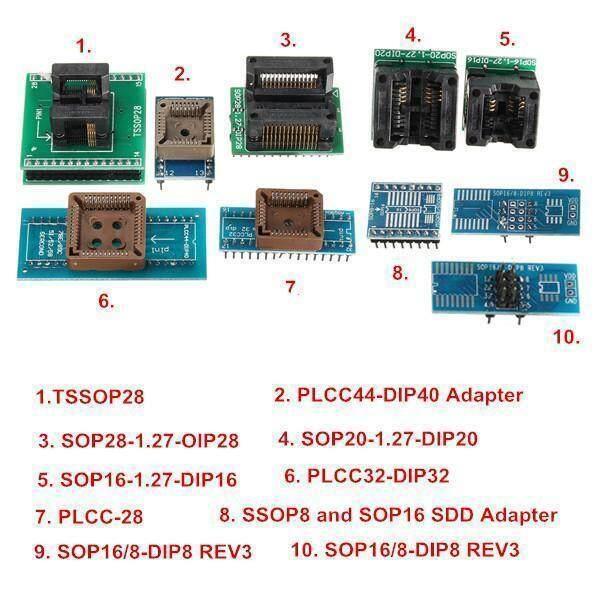 TL866II USB Universal Mini Pro Programmer With 10pcs Adapter EEPROM FLASH  8051 AVR MCU SPI ICSP