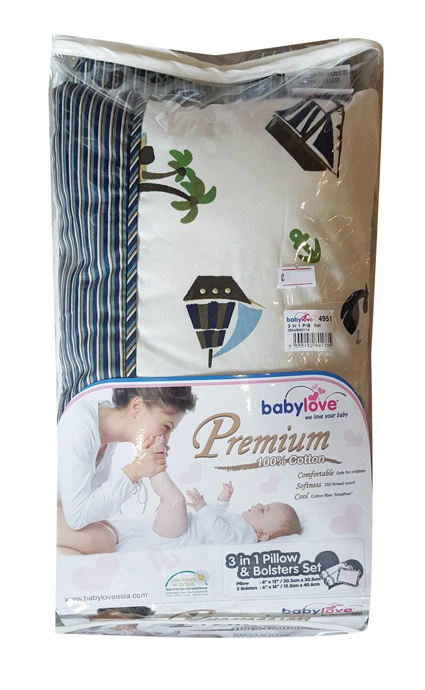 Babylove 3 in 1 Pillow & Bolster Set (Marine Blue)