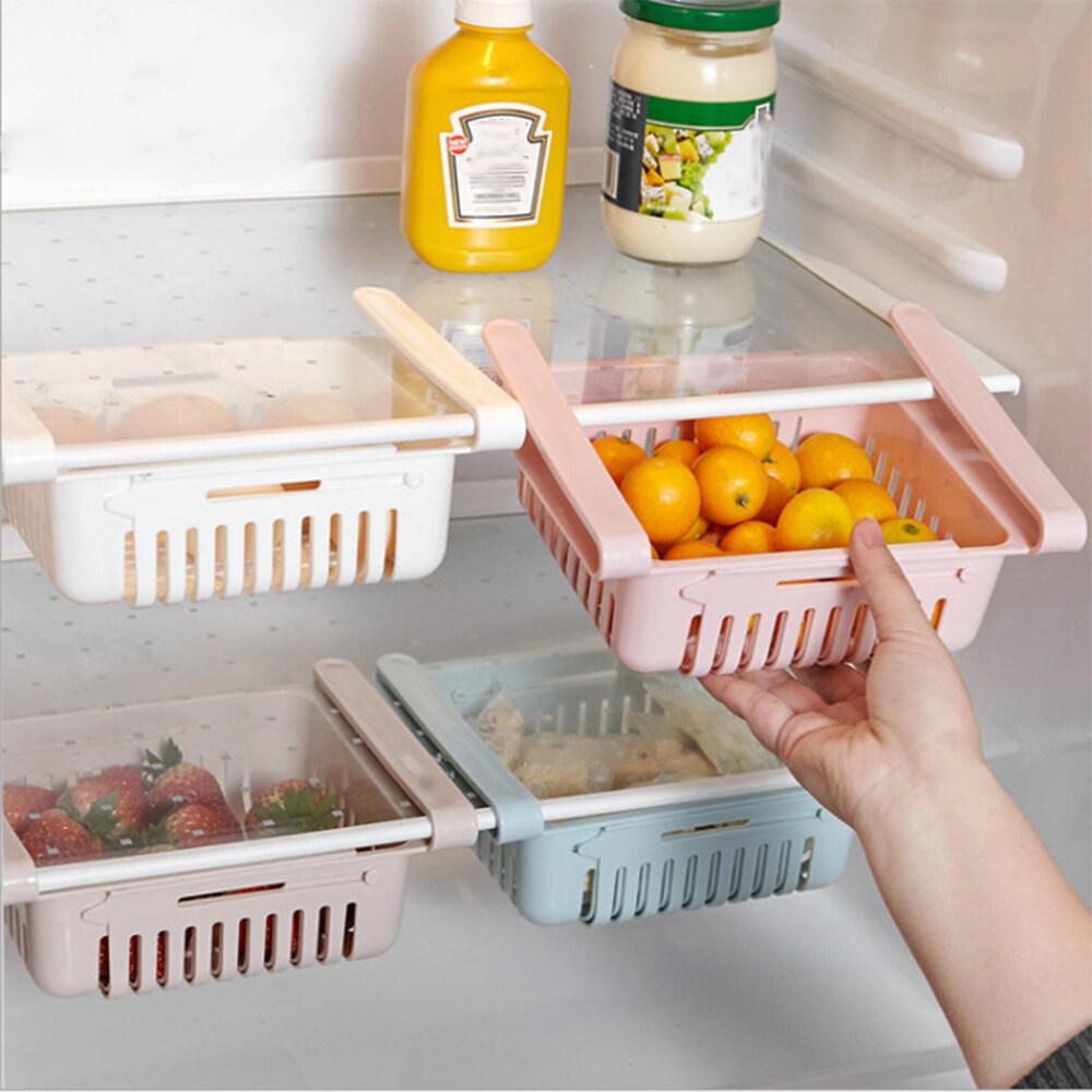Adjustable Stretchable Refrigerator Organizer Drawer Basket Refrigerator Pull-Out Drawers Fresh Spacer Layer Storage Rack,White