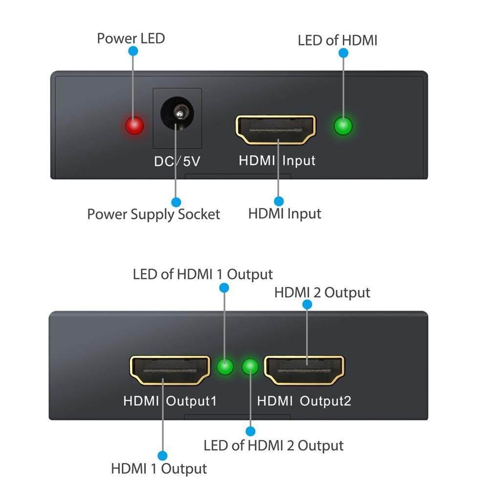 HDMI Splitter 1 in 2 out-Black : bdstore24 com
