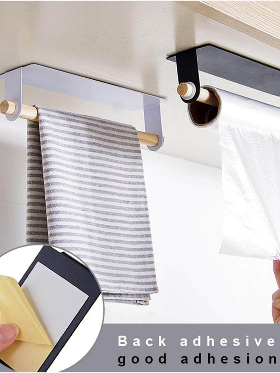 1pcs New Kitchen Towel Holder Bathroom Wood And Iron Storager Rack Cabinet Hanging Shelf Organizer Bathroom Kitchen Supplies