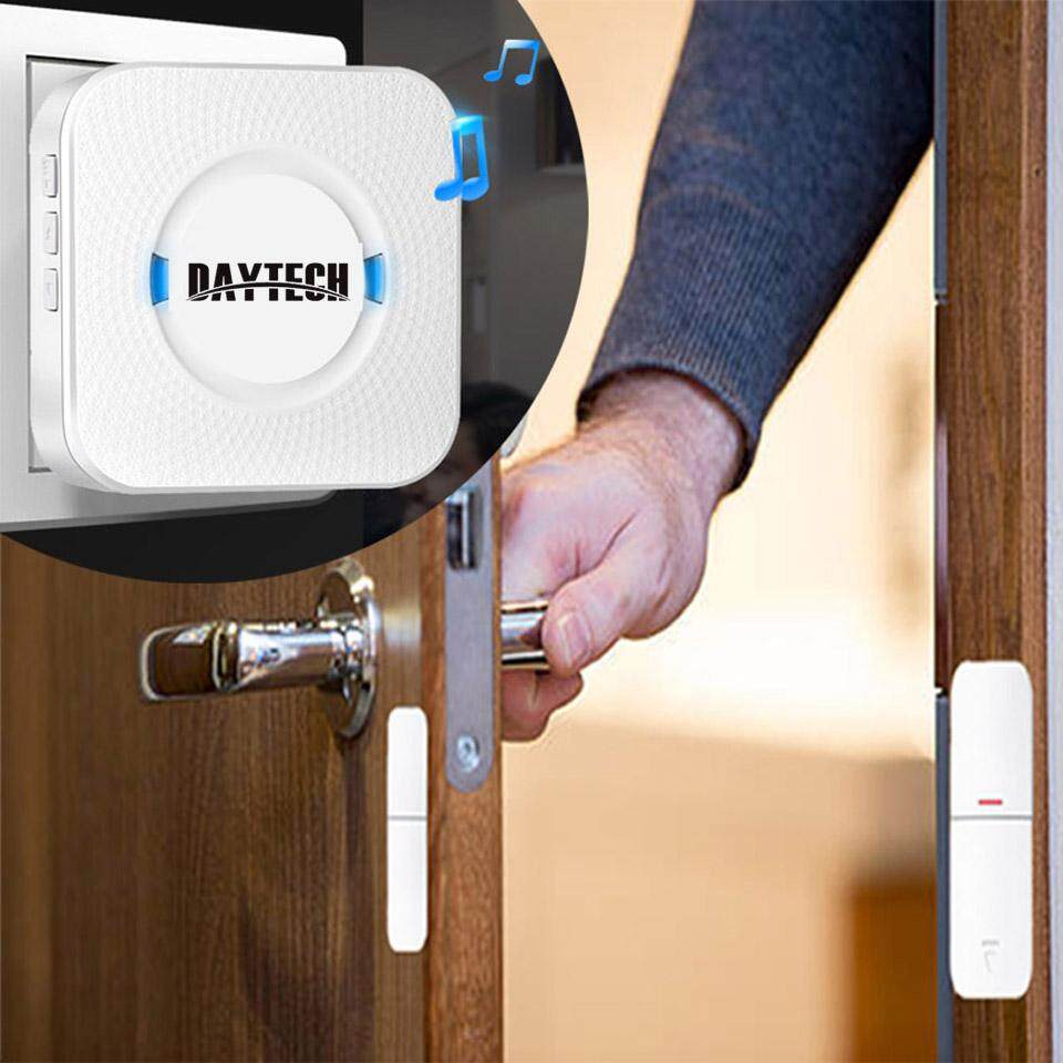 DAYTECH Wireless Door Sensor Open Chime Door Bell DIY Home Security Alarm  System Entrance Entry Alert Detector Kit For Home Store Office