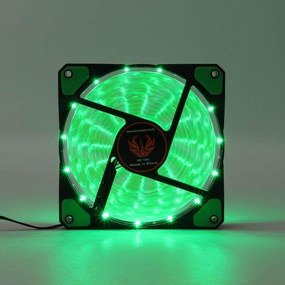 Quad 15-LED Light Neon Quite Clear 120mm PC CPU Computer Case Cooling Fan  Mod