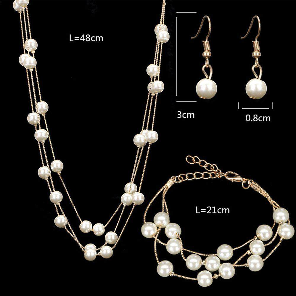 Bridal Jewelry Set Pearl Beaded Multilayer Necklace Earrings