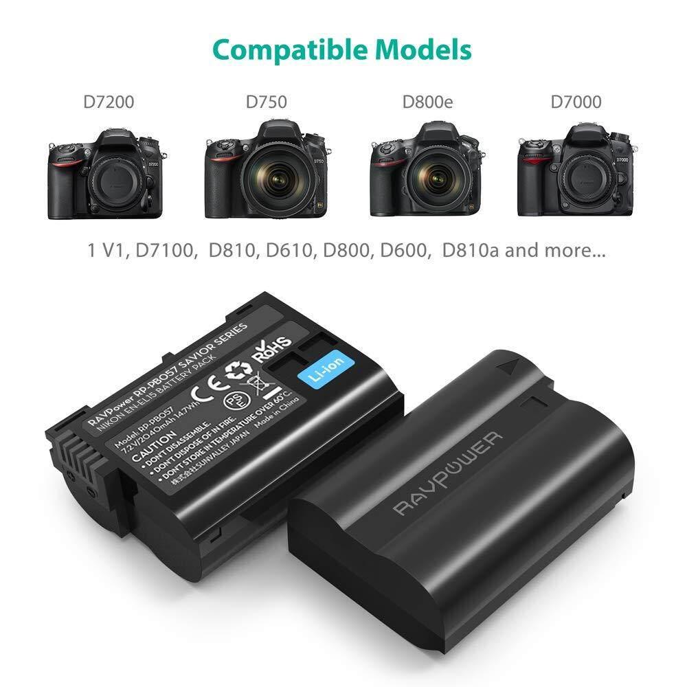 RAVPower EN-EL15 EN EL15a Battery Charger and 2-Pack Rechargeable Li-ion  Batteries for Nikon d750, d7200, d7500, d850, d610, d500, MH-25a, d7200,  z6,
