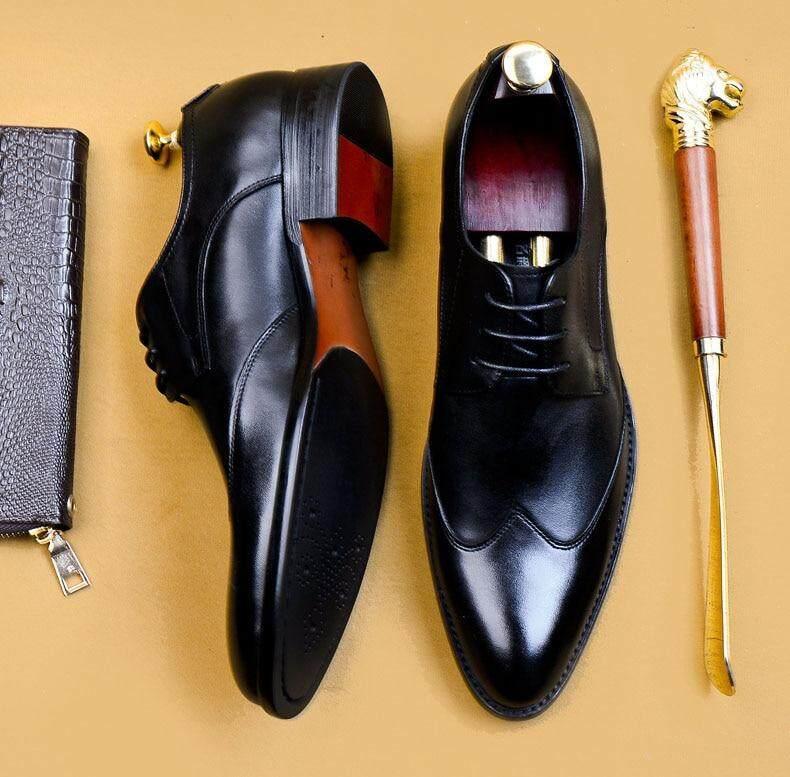 Black Split Genuine Leather Oxford Dress Shoe Handmade