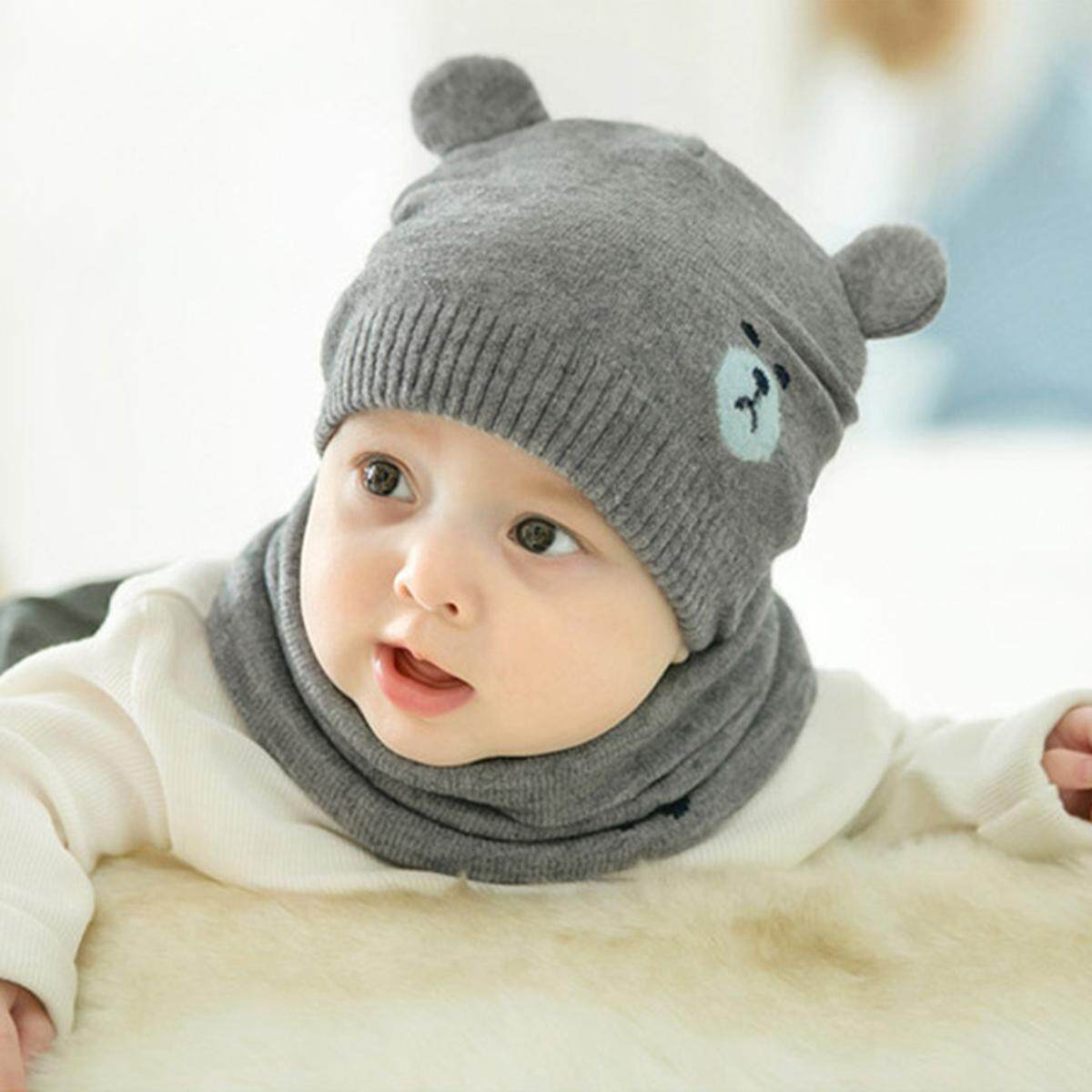 629071a06 2pcs/set Fashion Newborn Toddler Kids Hats Knitted Warm Bear Ear Beanie Cap  Bonnet Baby Winter Caps + Neckerchief Suits