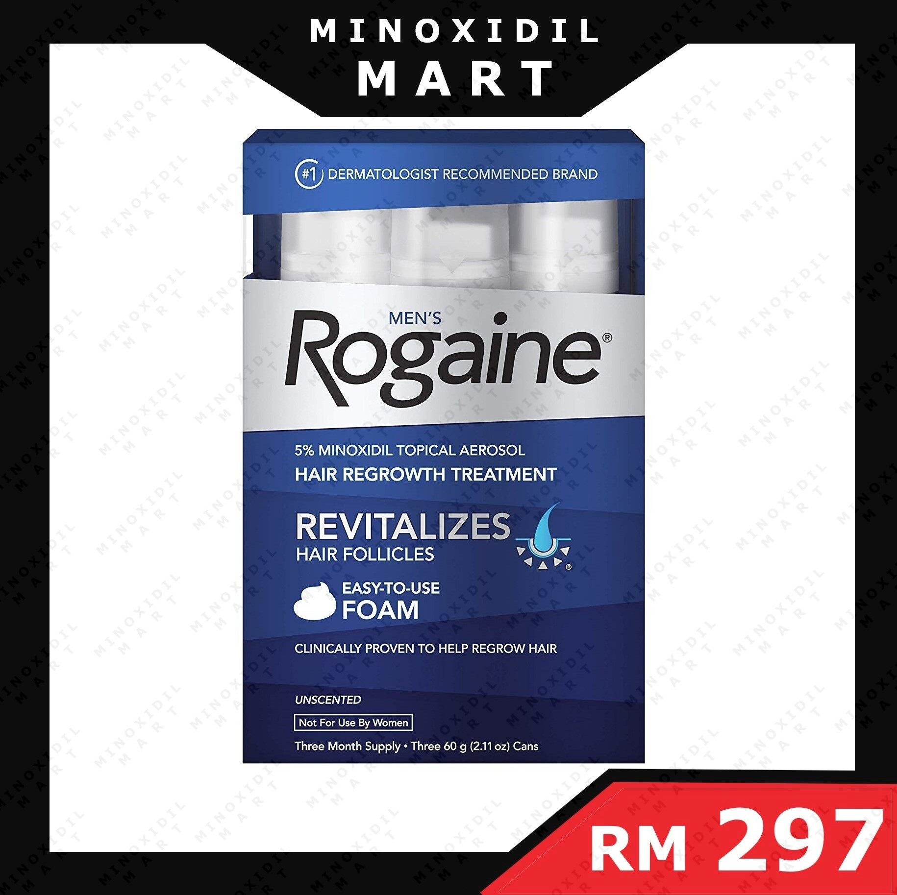 Men's Rogain 5% Minoxidill Foam for Hair Loss and Hair Regrowth, Topical Treatment for Thinning Hair, 3-Month Supply