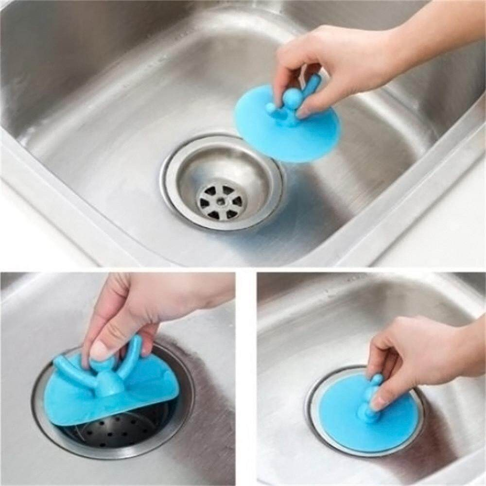 2xSilicone Drain Cover Kitchen Bathroom Sink Strainer Bathtub Water Stopper Plug