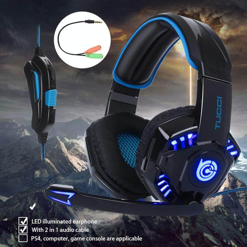 Fashion Headphone Headset Ear-Cup LED Light Gaming Computer PC Game Noise  Cancelling Deep Bass Mic Free Aux Cable Stereo Mount Stand Earphone for PS4