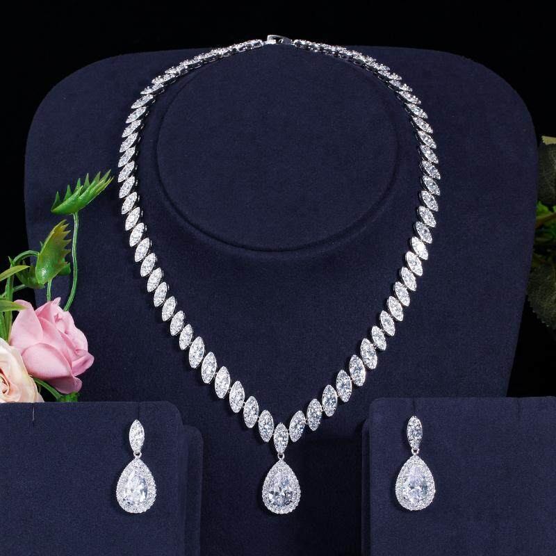 9624362dbd9 CWWZircons High Quality Cubic Zirconia Women Wedding Necklace and Earrings  Luxury Crystal Bridal Jewelry Sets for Bridesmaids