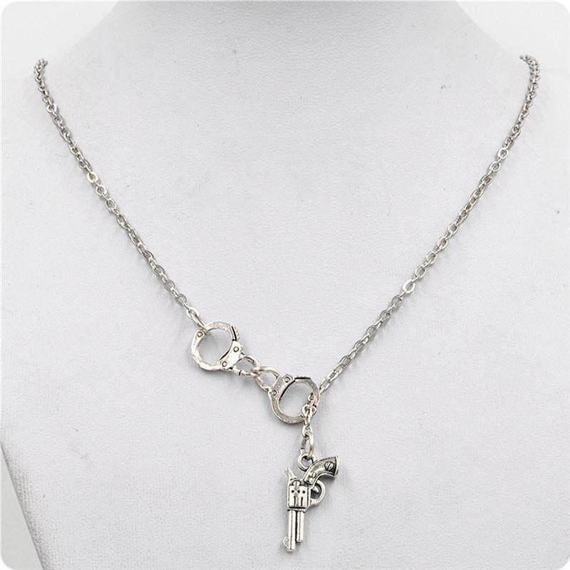 Stylish 1Pcs Handcuff and Gun Lariat Necklace Pendant Necklace New、2018 ÁÁ