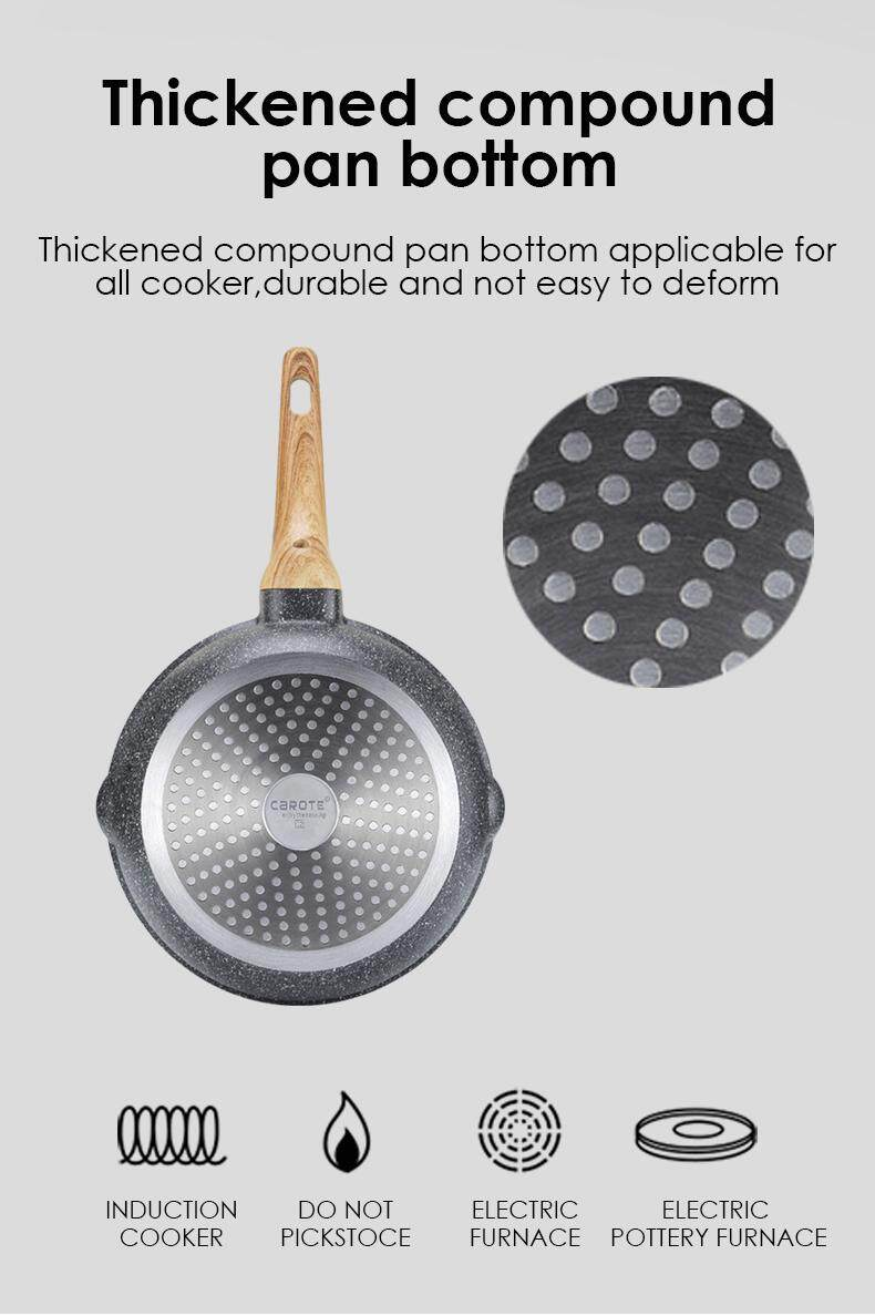 Carote Esssential Woody Non Stick Deep Fry Pan With Lid