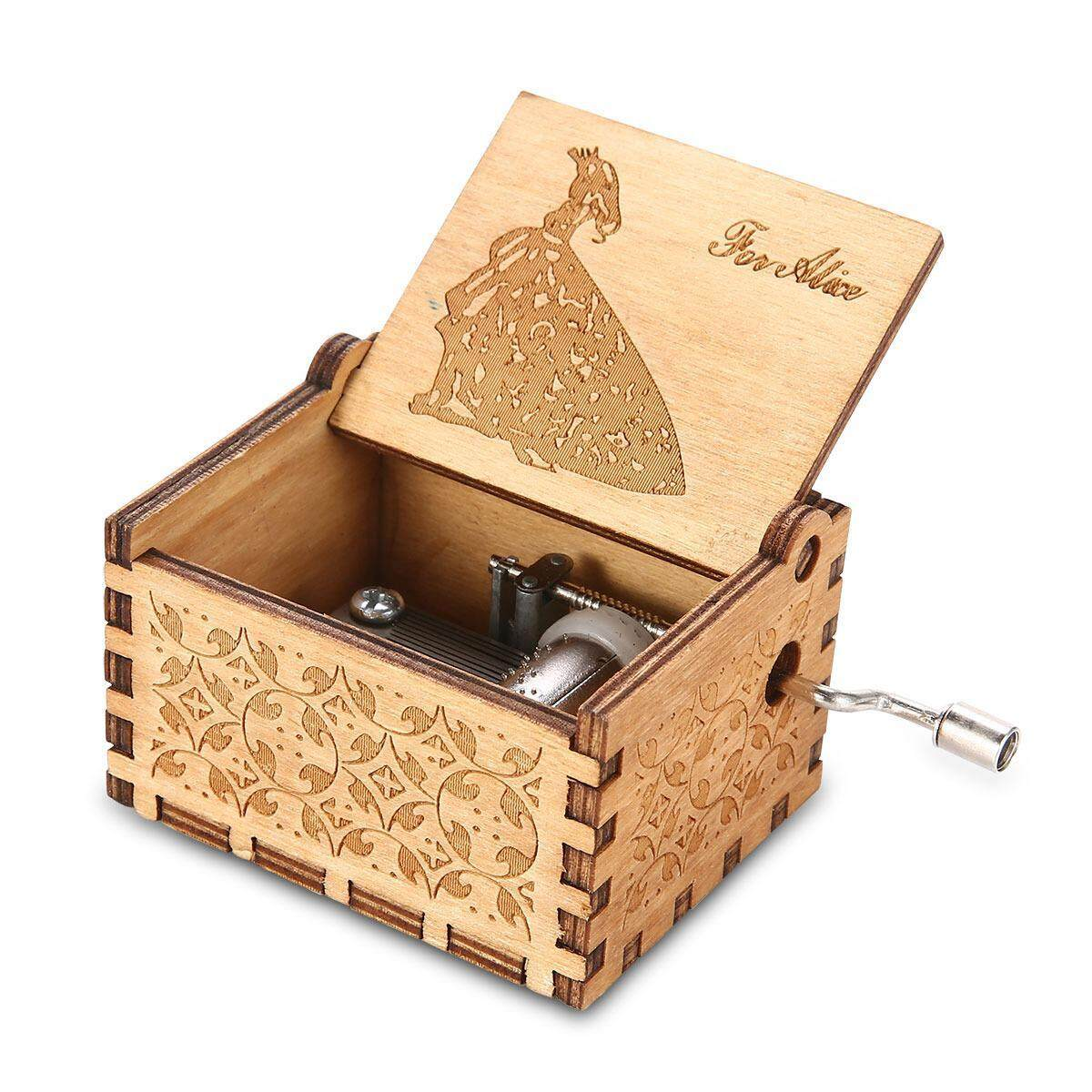 #2 Music Box Vintage Wooden Musical Wood Crafts Exquisite Birthday Gift Home Office Decoration