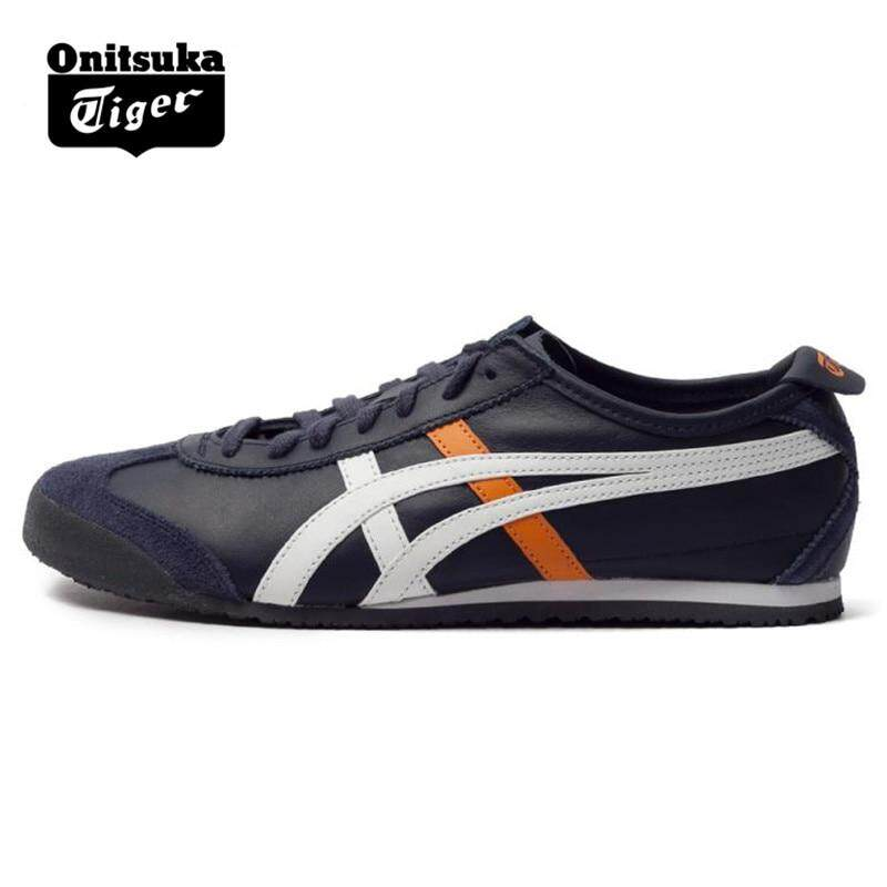 brand new 6c5b2 30c67 ONITSUKA Tigers Men's Shoes MEXICO 66 Navy Blue Leather Rubber Anti-skid  Hard-Wearing Street Sneakers Badminton Shoes D4J2L-5001