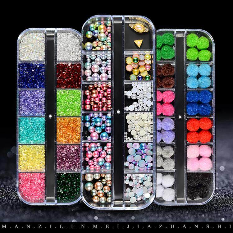 5159b6f9c6 1box/AB Jelly Rhinestones 3d Colorful Nail Sequins Crushed Stones Fur Ball  For DIY Accessories Glitter Nail Art Decorations