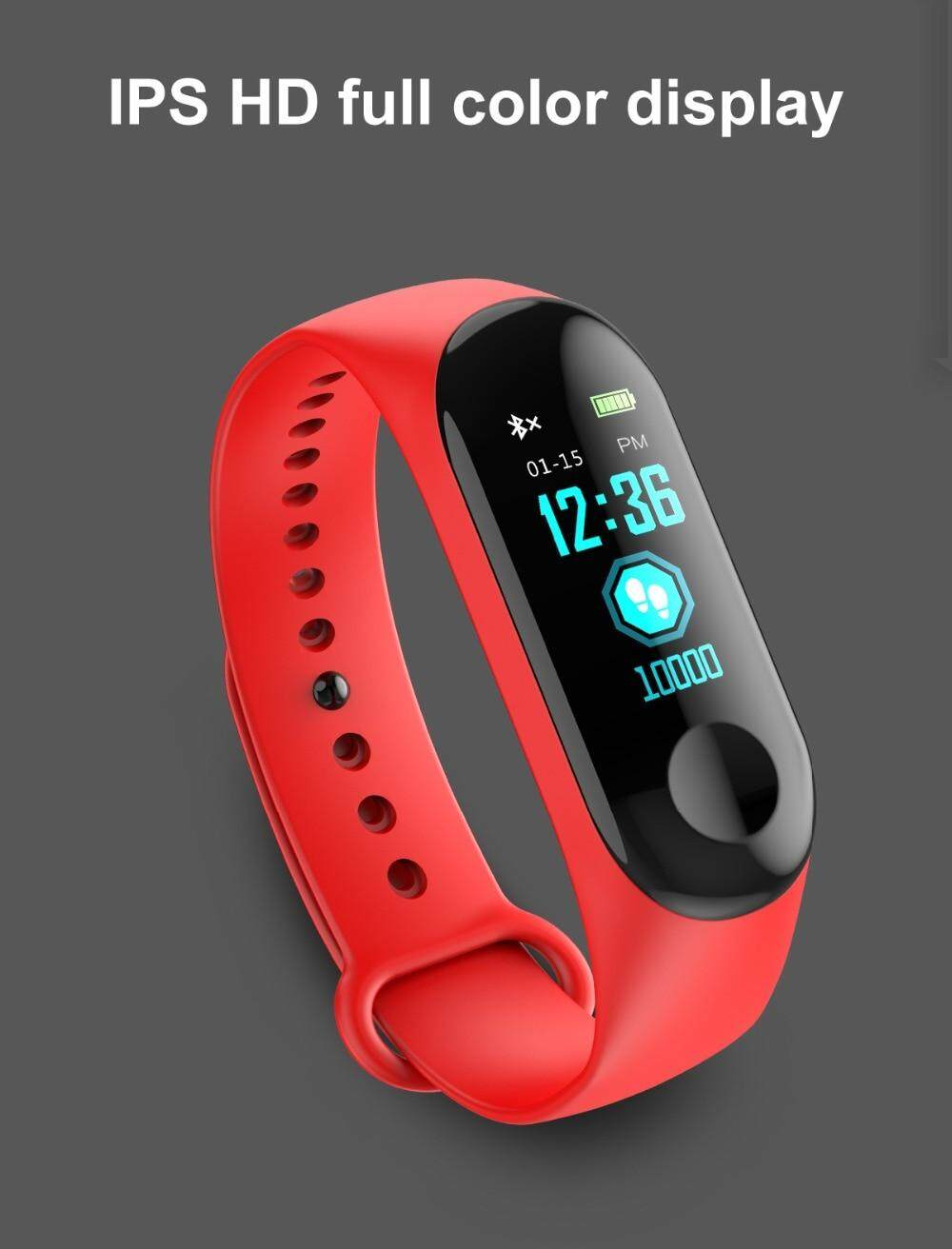 New M3 Colorscreen Multi Touch Smart Bracelet Heart Rate Monitor Bluetooth  Smartband Health Fitness Tracker Smart Band Wristband for Android iOS -