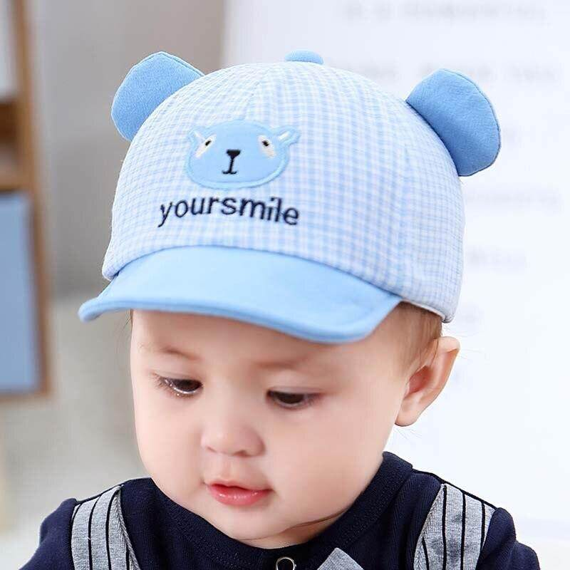 2383ab288 Cute Cartoon Baby Cap With Ears Summer Newborn Adjustable Baseball Cap  Cotton Baby Girl Boy Hat Plaid Toddler Kids Sun Hat