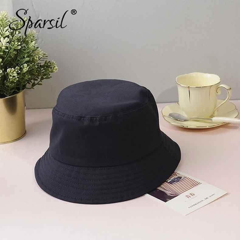 b108be38f Sparsil Unisex Summer Foldable Bucket Hat Women Outdoor Sunscreen Cotton  Fishing Cap Men Basin Chapeau Sun Prevent Hats