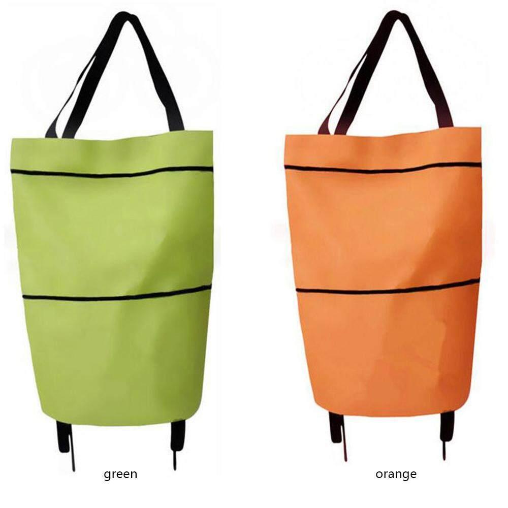 Portable Foldable Shopping Trolley Cart Rolling Wheels Shoulder Tote Bag Handbag