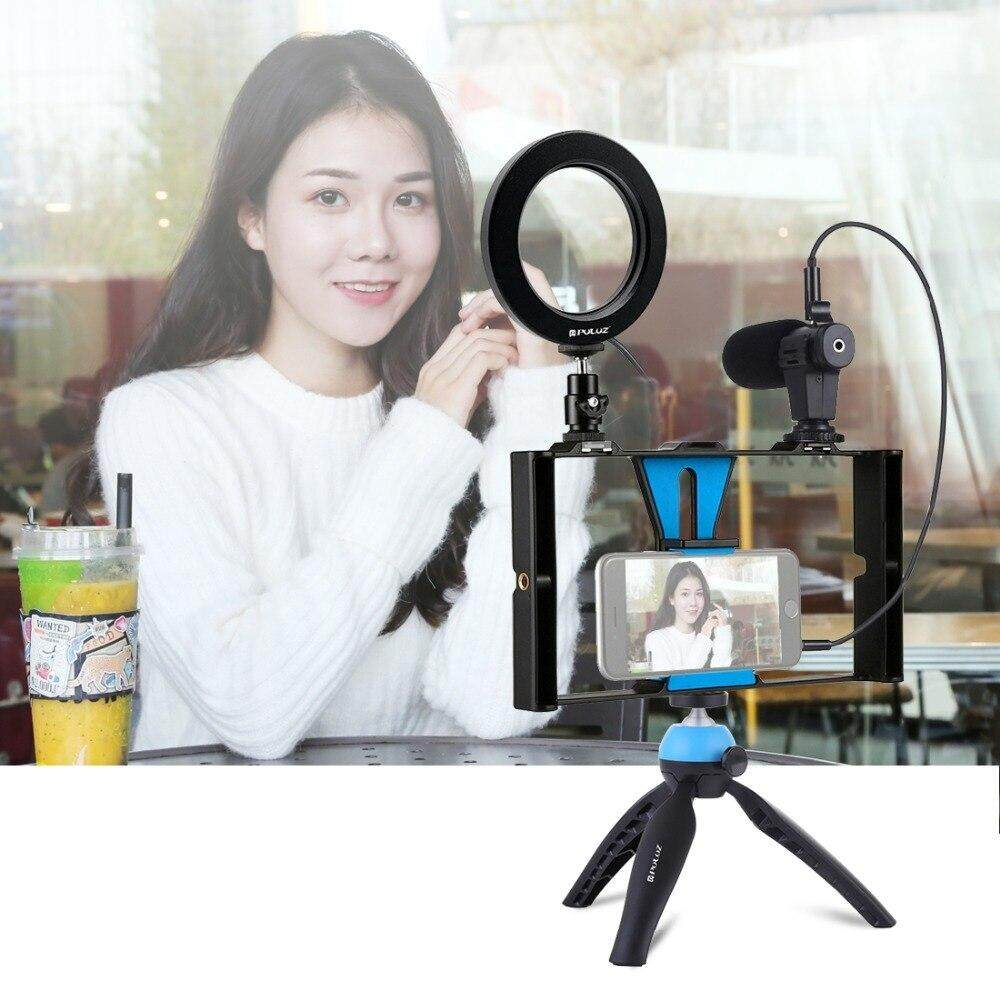 4 in 1 Vlogging Live Broadcast Smartphone Video Rig +4 6 inch Ring LED  Video Light & Microphone+Tripod Mount+Tripod Head