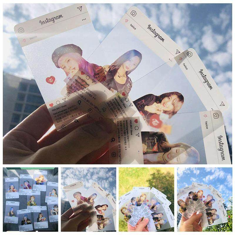 Qianer 9Pcs/ Set Kpop Girl's Group TWICE Transparent Cards INS HD Photos