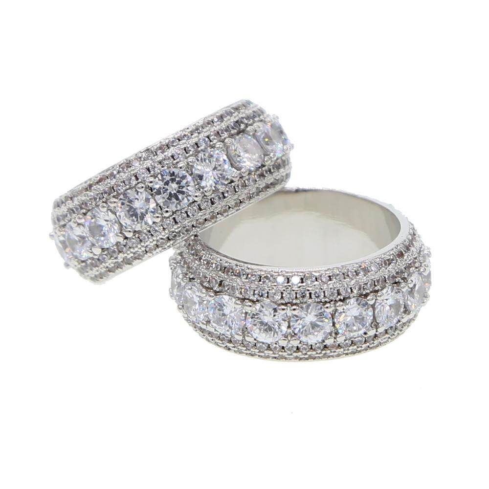 e144140f1f96e Hip hop sparking Cubic Zirconia Rings Iced Out High Quality Micro Pave CZ  Rings Women & Men Silver Finger cz band Ring size 7-10
