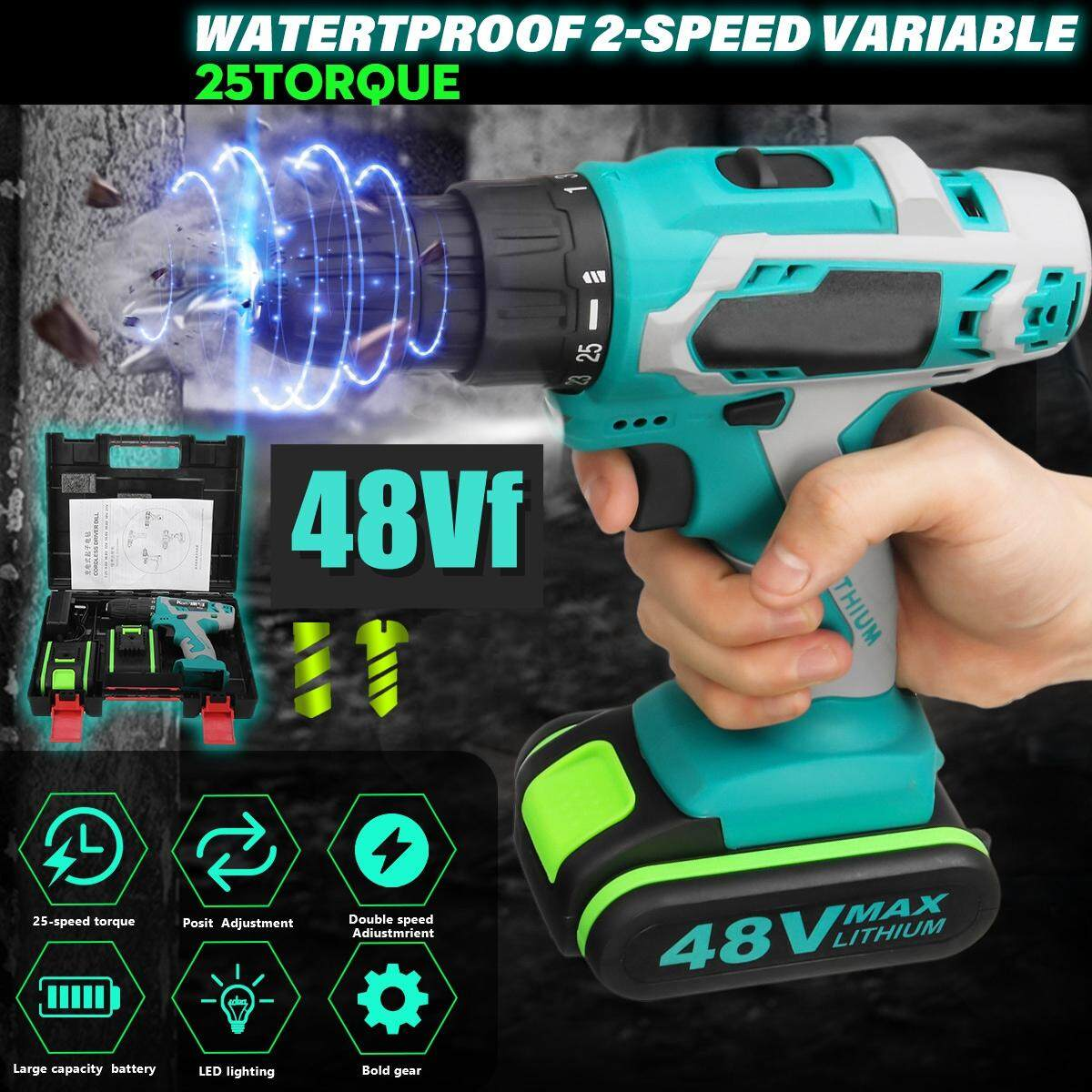 48V Cordless Rechargeable Battery Electric Drill LED Impact Screwdriver 2 Speed